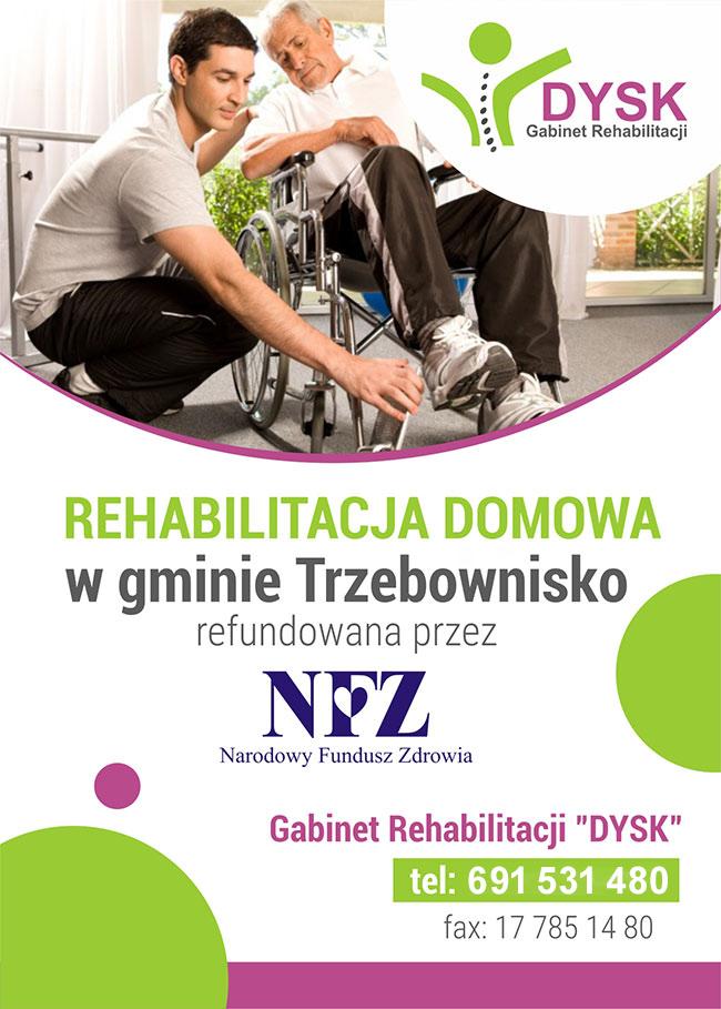 Ulotka rehabilitacja domowa NFZ w gminie Trzebownisko